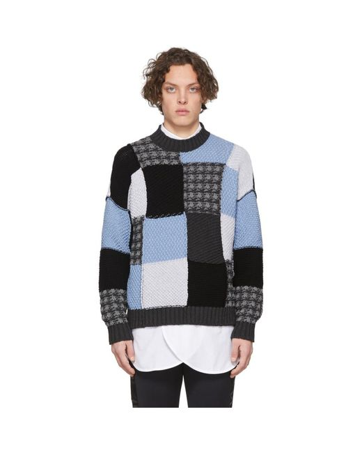 J.W. Anderson Blue Patchwork Cotton Sweater for men