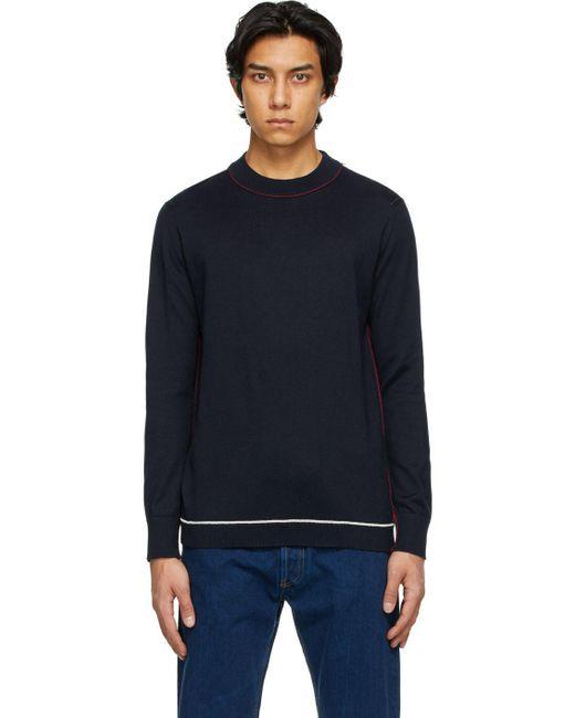 メンズ Maison Margiela ネイビー モックネック セーター Blue