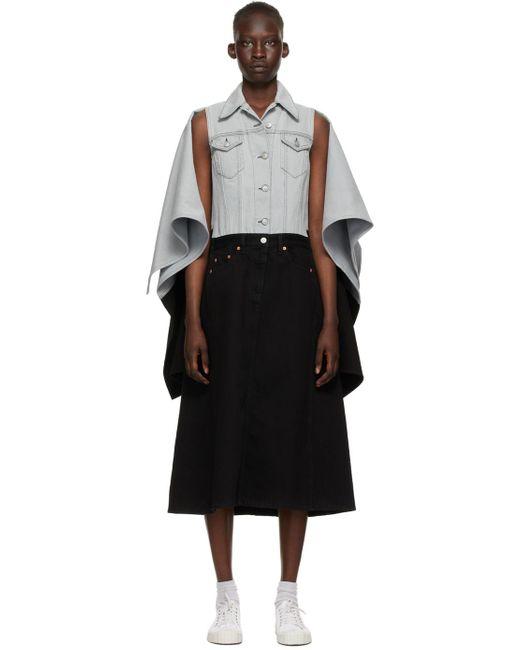 MM6 by Maison Martin Margiela グレー & ブラック Spliced デニム ジャケット ドレス Black