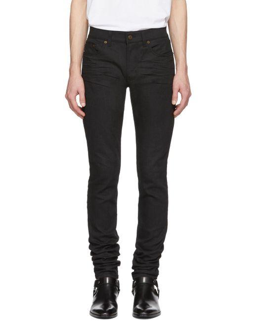 メンズ Saint Laurent ブラック スキニー 5 ポケット ミディアム ジーンズ Green