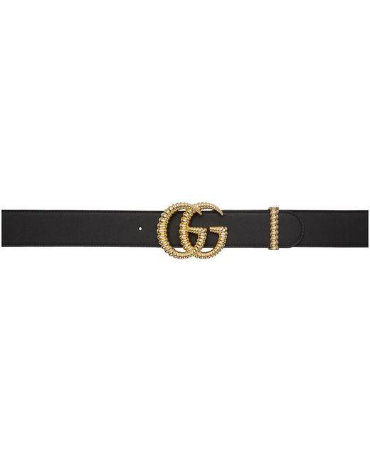 Gucci ブラック レザー トーション GG ベルト Black