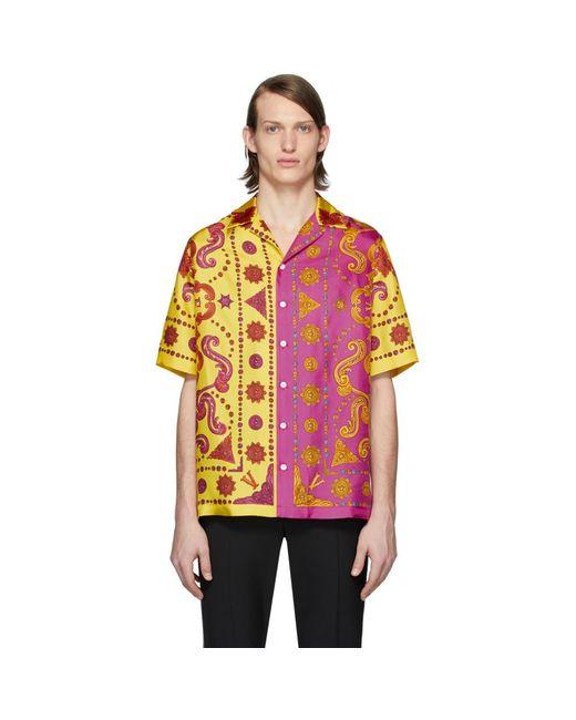メンズ Versace イエロー And ピンク シルク Barocco ウェスタン シャツ Multicolor
