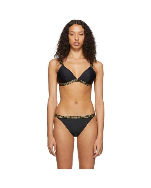 Versace Black Greek Key Triangle Bikini Top