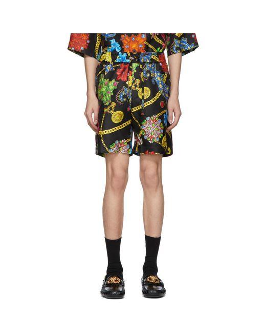 Short en soie multicolore Floral Versace pour homme en coloris Black
