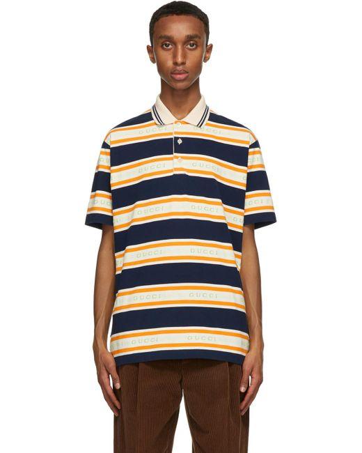 メンズ Gucci オレンジ & ネイビー ストライプ ポロシャツ Blue
