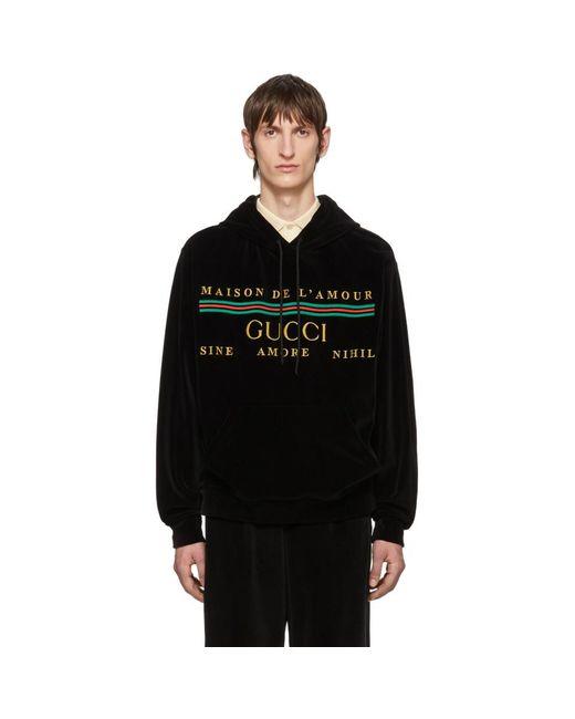 メンズ Gucci ブラック コットン シェニール フーディ Black