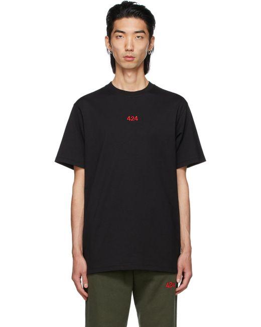 メンズ 424 ブラック ロゴ T シャツ Black