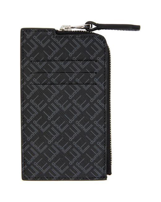 メンズ Dunhill ブラック Signature Zip ウォレット Black