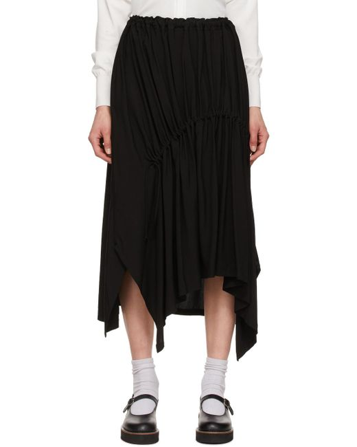 Y's Yohji Yamamoto ブラック Shirring ミッドレングス スカート Black