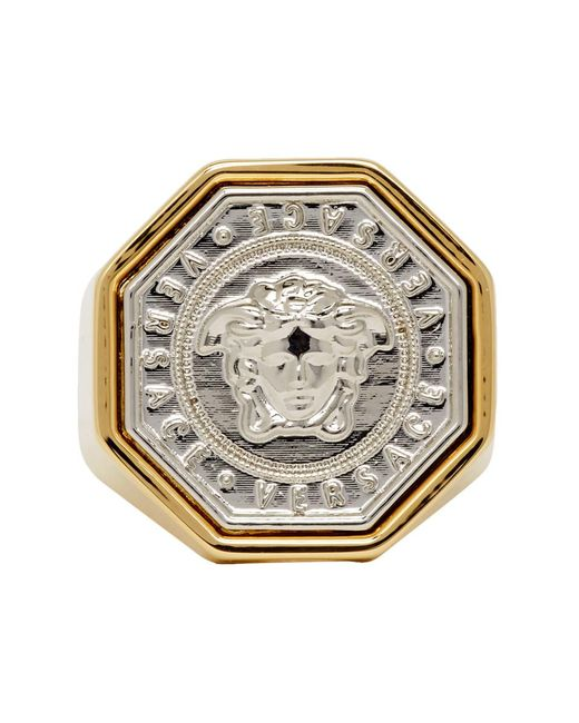 Versace Metallic Gold And Silver Medusa Ring for men