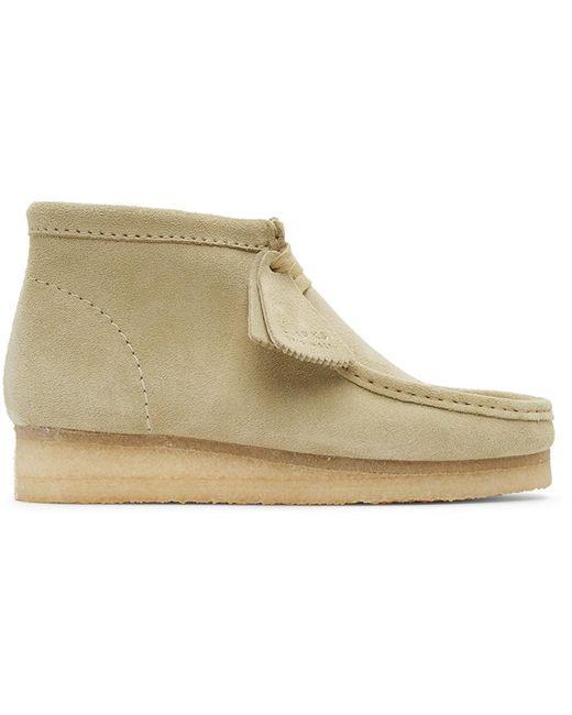 メンズ Clarks ベージュ スエード ワラビー デザート ブーツ Natural