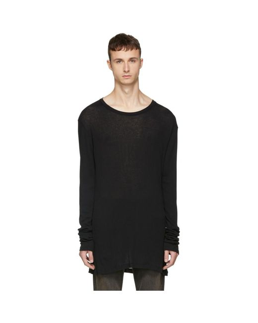 Outlet 2018 New 100% Authentic For Sale Black Long Sleeve Rib Elongated T-Shirt Unravel Shop Online With Credit Card Sale Online Cheap Best Wholesale hIYwLxlt