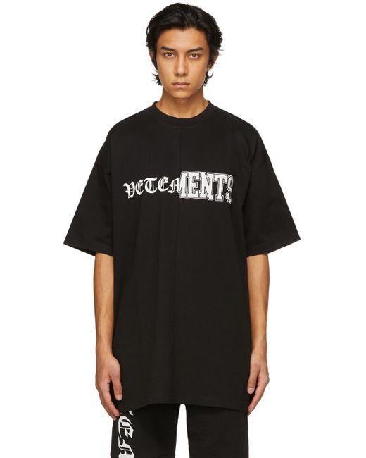 メンズ Vetements ブラック Vertical Cut-up ロゴ T シャツ Black