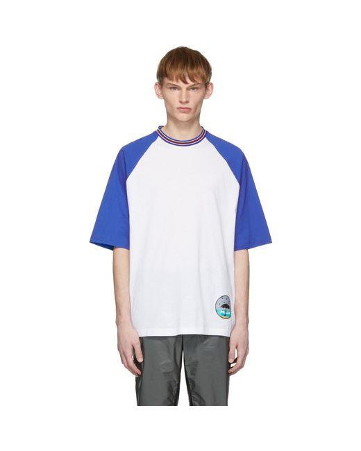 メンズ Prada ホワイト And ブルー グラフィック T シャツ Blue