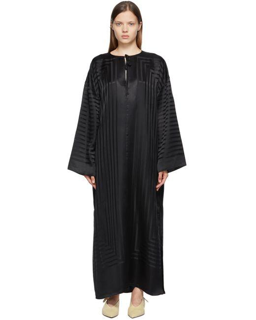 Totême  ブラック シルク モノグラム ドレス Black