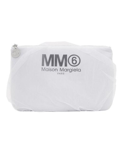 MM6 by Maison Martin Margiela ホワイト チュール カバー ポーチ White