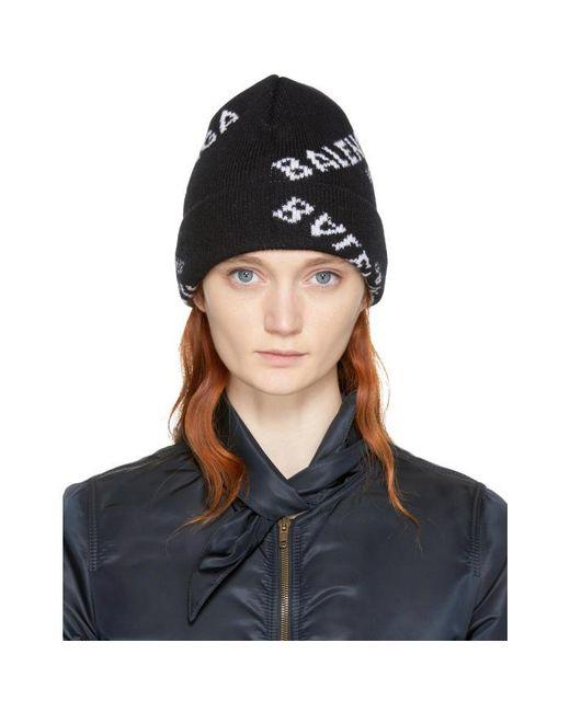 Balenciaga | Black All Over Logo Beanie | Lyst