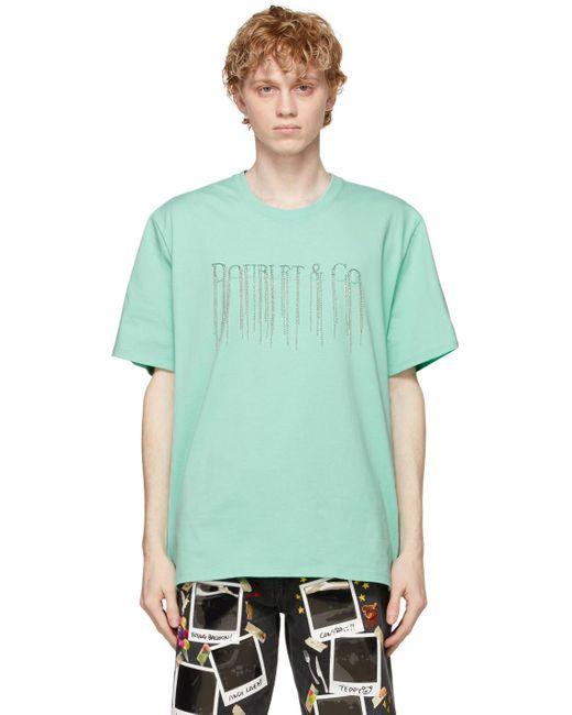 メンズ Doublet グリーン Chain Fringe Embroidery T シャツ Green