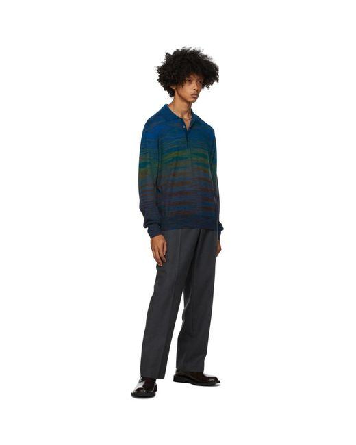 メンズ Missoni ブルー ニット ストライプ ロング スリーブ ポロシャツ Blue