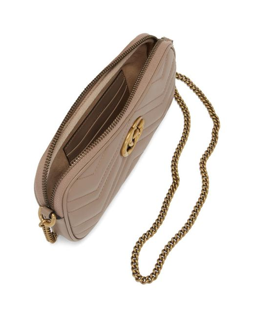 Gucci ピンク GG マーモント チェーン ウォレット バッグ Brown