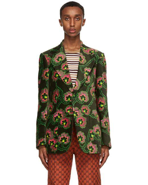 メンズ Gucci Ken Scott Edition グリーン ベルベット フローラル Palace ブレザー Green