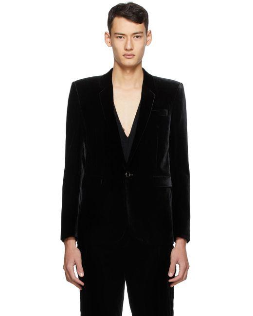 メンズ Saint Laurent ブラック コーデュロイ ロング ジャケット Black