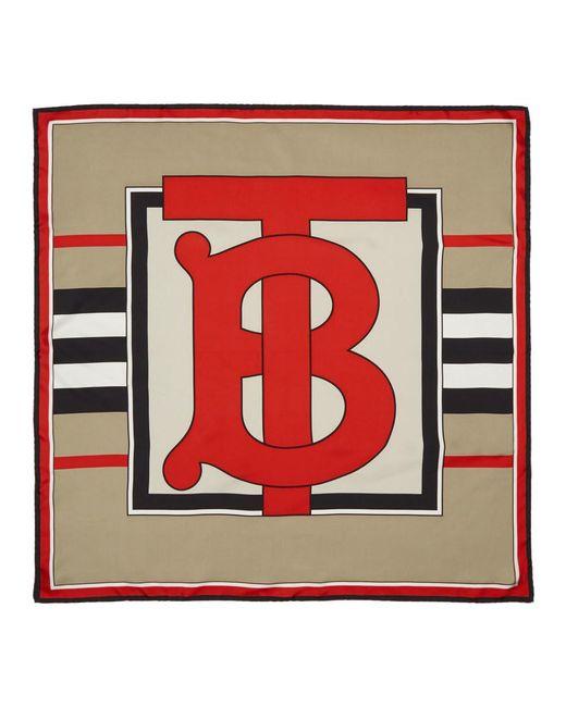 Burberry ベージュ ヘリテージ ストライプ スカーフ Red