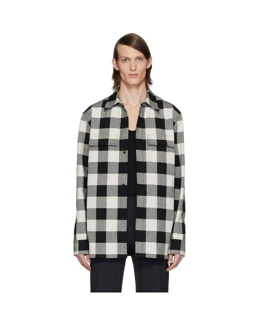 メンズ Bottega Veneta ブラック And ホワイト チェック オーバーシャツ Black