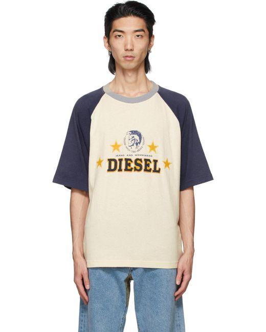 メンズ DIESEL X コレクション オフホワイト & ネイビー D4d-22 T シャツ Blue