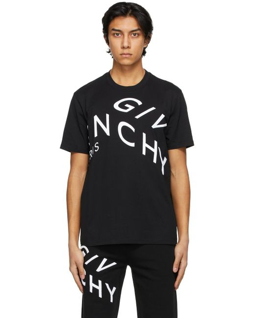 メンズ Givenchy ブラック Embroidered Refracted ロゴ T シャツ Black