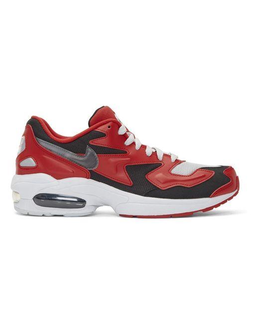 メンズ Nike レッド And ブラック エア マックス 2 ライト スニーカー Red