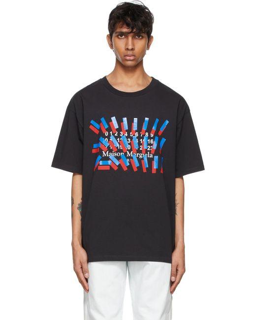 メンズ Maison Margiela ブラック Tape Print T シャツ Black
