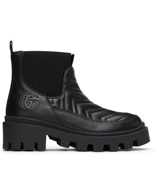 Gucci ブラック Matelassé チェルシー ブーツ Black