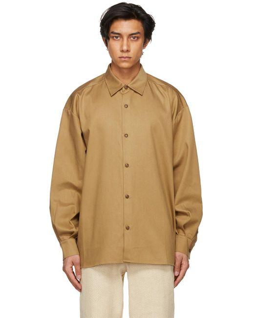 メンズ King & Tuckfield ブラウン Pleated Sleeve オーバーサイズ シャツ Brown