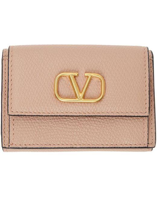 Valentino Garavani コレクション ピンク ミニ トライフォールド ウォレット Pink