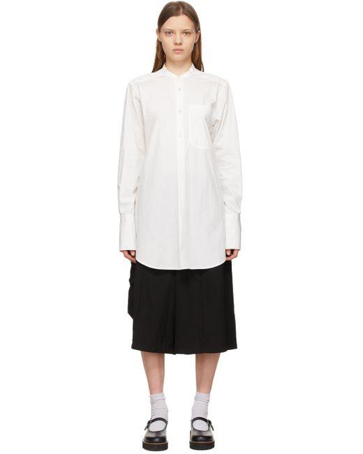 Y's Yohji Yamamoto オフホワイト ノーカラー シャツ White