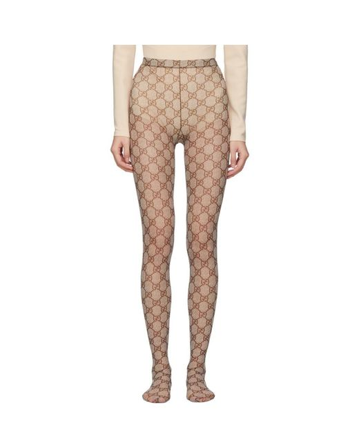 Gucci Beige And Brown GG Tights
