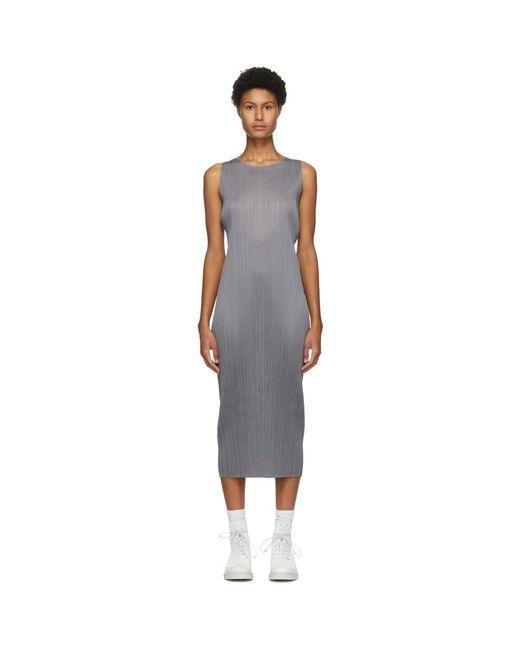 Pleats Please Issey Miyake グレー スリーブレス ミッドレングス ドレス Gray