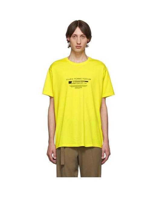 メンズ Givenchy イエロー Homme Podium T シャツ Yellow