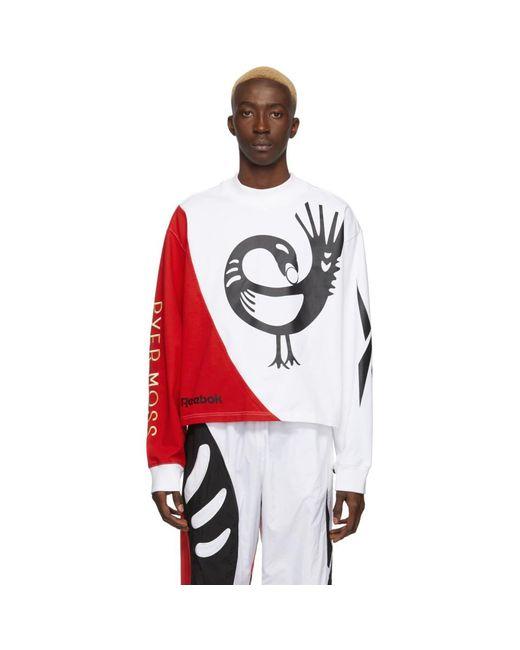 メンズ REEBOK X PYER MOSS Collection 3 コレクション ホワイト クルーネック ロング スリーブ T シャツ White