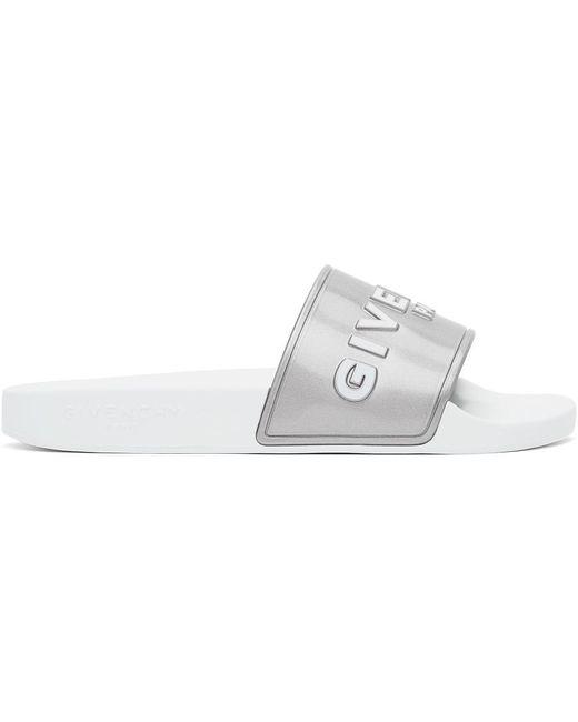 Givenchy シルバー & ホワイト ロゴ スライド White