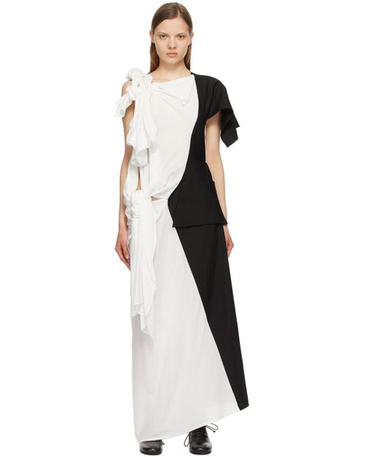 Yohji Yamamoto ホワイト & ブラック Left Body ドレス Black