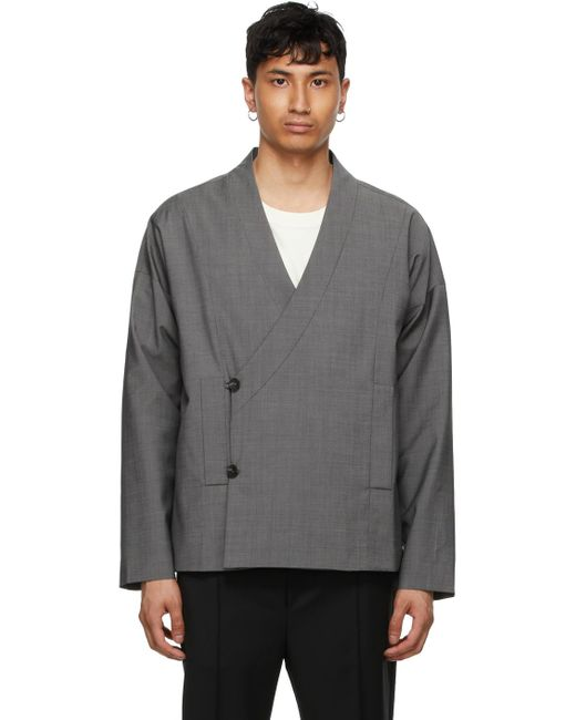 Tom Wood Gray Ssense Exclusive Grey Wool Wrap Jacket for men