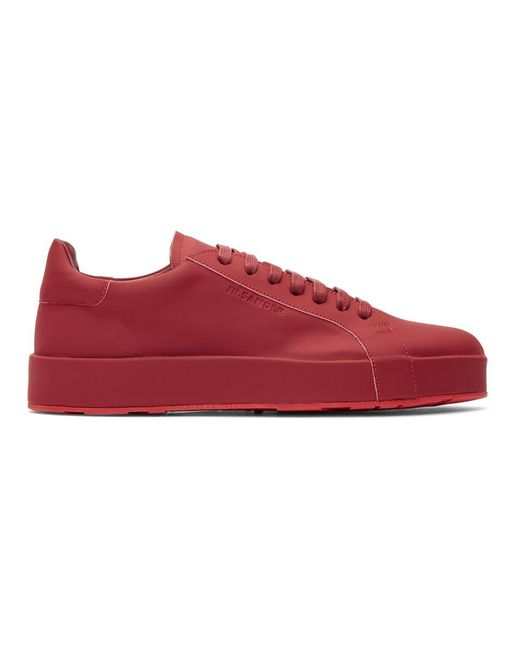 Red Leather Sneakers Jil Sander 5KoU4
