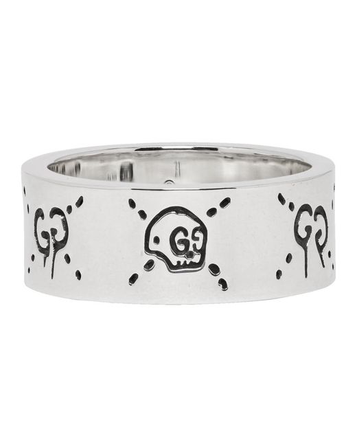 Gucci Metallic Silver Ghost Ring for men