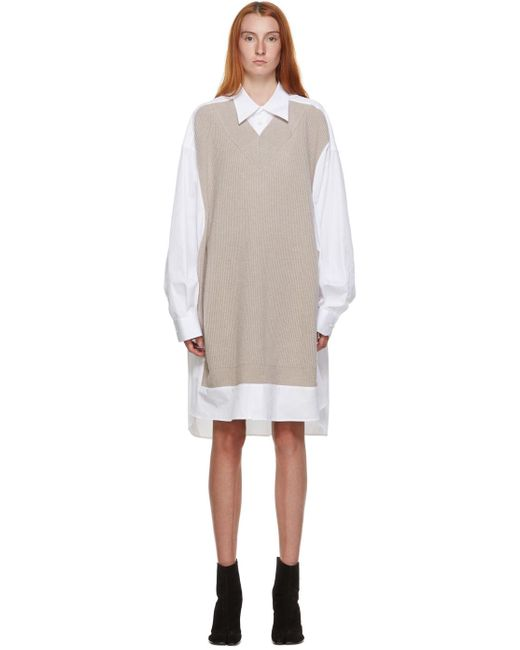 Maison Margiela ホワイト & ベージュ ニット シャツ ドレス Natural