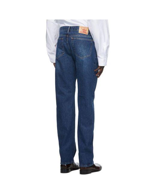 メンズ Y. Project ネイビー ラッフル ポケット ジーンズ Blue