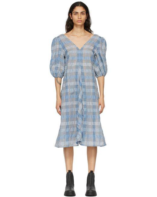 Ganni ブルー チェック ドレス Blue