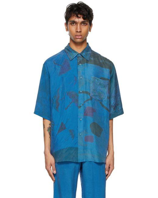 メンズ MARINE SERRE ブルー シルク Patchwork Scarves ショート スリーブ シャツ Blue