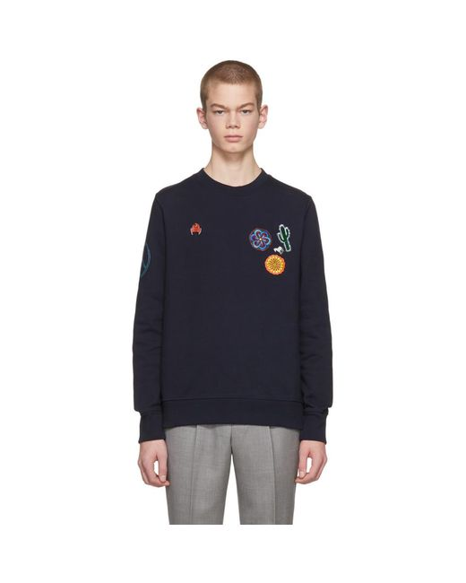 PS by Paul Smith - Blue Navy Embellished Crewneck Sweatshirt for Men - Lyst